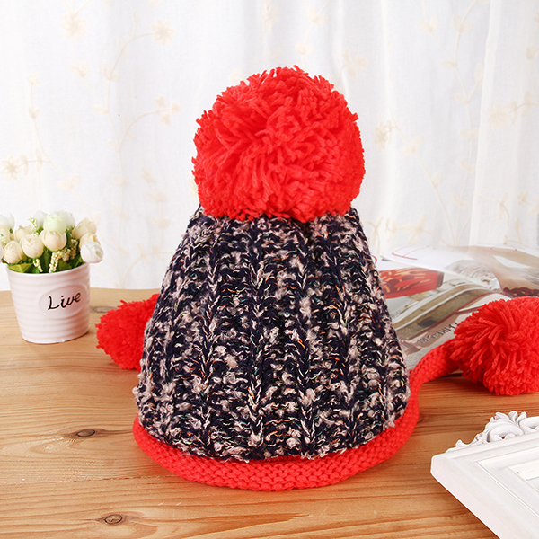 Women Winter Warm Fur Ball Knitting Beanie Cap Thick Bucket Hat