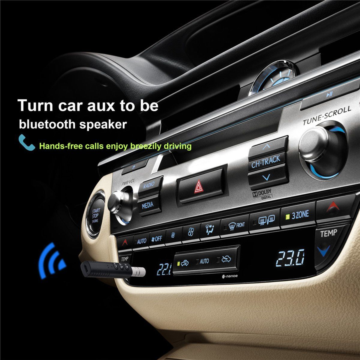 iMars Universal 3.5mm Jack bluetooth Car Kit Hands free Music Audio Receiver Adapter Auto AUX Kit