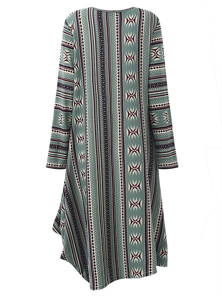 Vintage Women Geometric Printed Irregular Dress