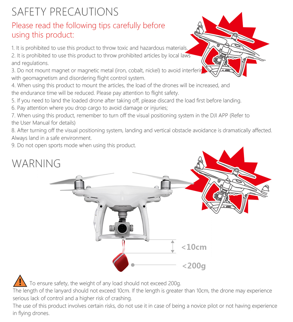 PGYTECH Air Thrower Fishing Wedding Ring Gifts Delivery Drop System for DJI Phantom 4 Pro/V2.0 Drone