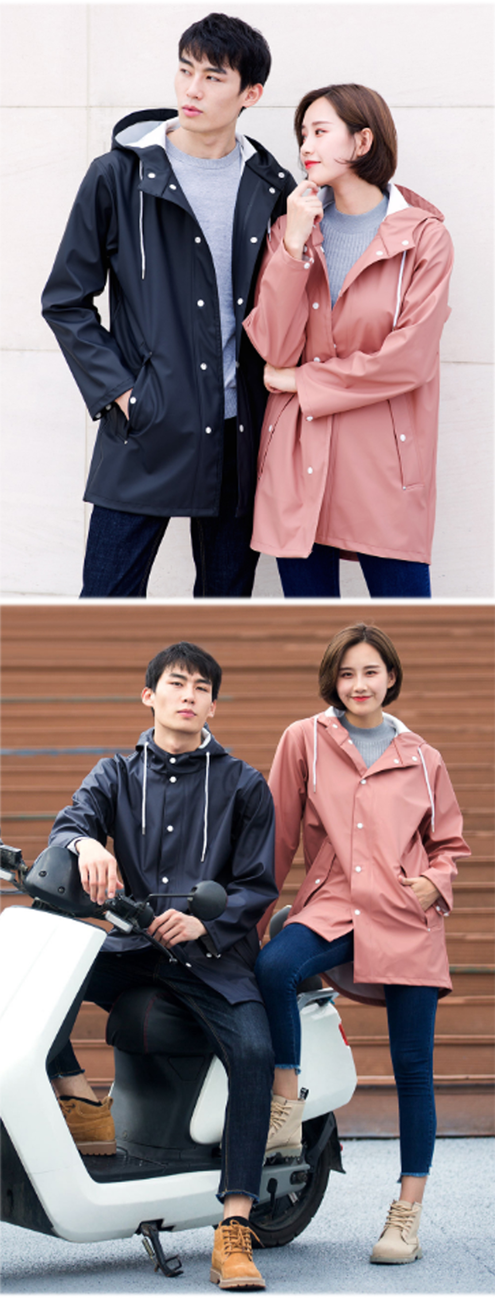 Xiaomi 7th Adult Raincoat Waterproof Coat Jacket Reflection Strip Couple Cloak Poncho Men Women