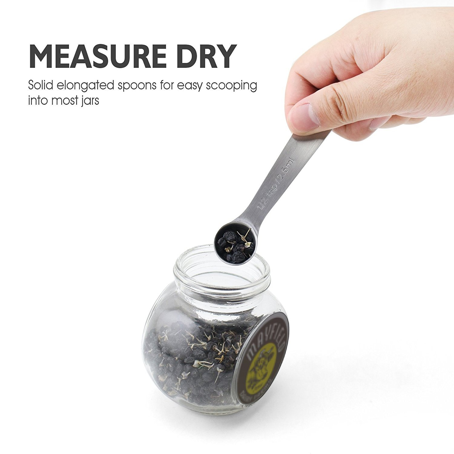 Honana CF-MS06 6 Pcs Stainless Steel Measuring Spoon Set for Measuring Dry and Liquid Ingredients