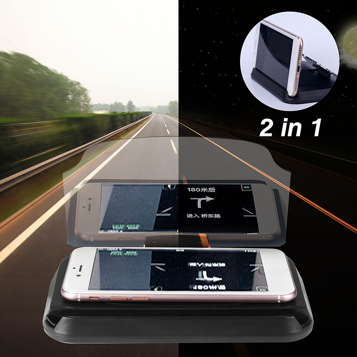 2 in 1 HUD Head Up Display Navigation Car GPS Phone Mount Bracket Holder for iPhone Samsung Xiaomi