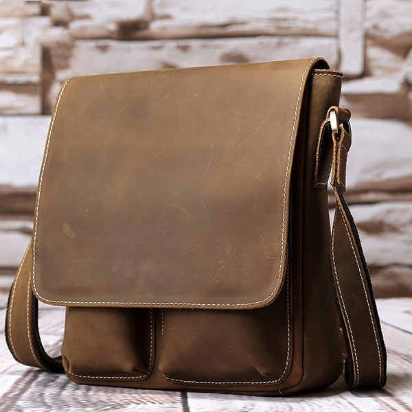 Caual Business Messenger Bag Leather Crossbody Bag for Men