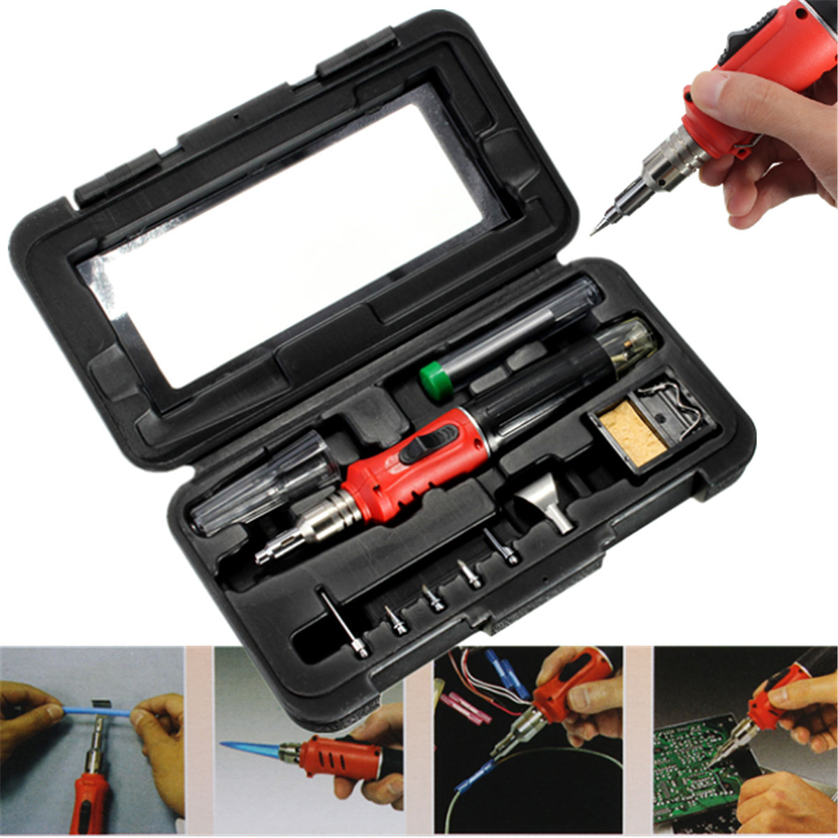 Raitool® HS-1115K 10 in 1 Welding Kit Blow Torch Professional Butane Gas Solder Iron Soldering Tools