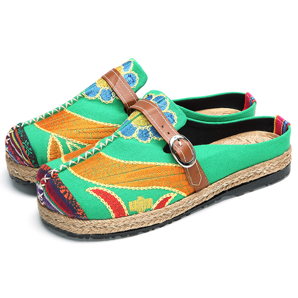 SOCOFY Soft Colorful Embroidered Buckle Folkways Backless Flat Shoes
