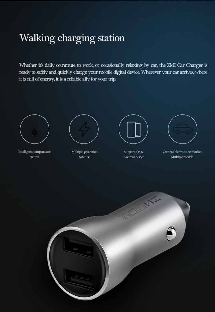 Xiaomi ZMI Car Charger Dual USB 18W Quick Charge 3.0 Digital Voltage Display for Mobile Phone