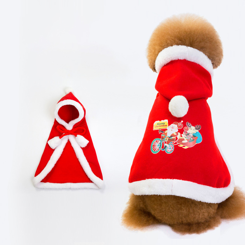 Christmas Pet Dog Cloak Costume Warm Puppy Cloak Clothing for Winter Pet Dress