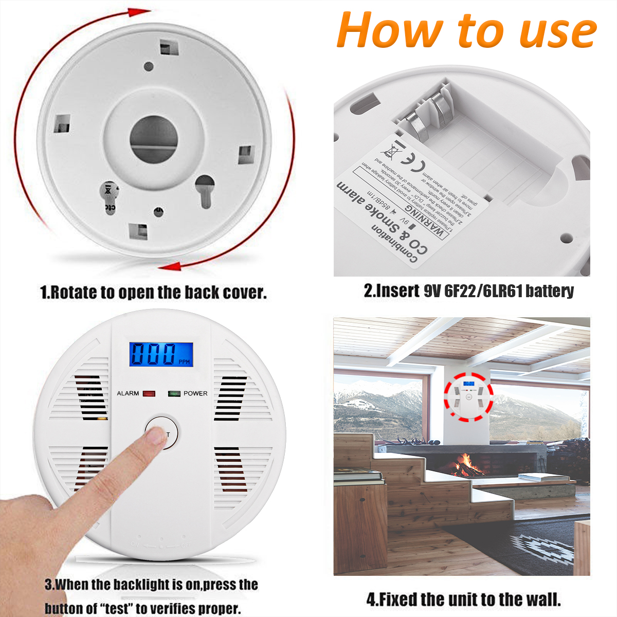 CO Carbon Monoxide LCD Detector Poisoning Gas Alarm Warning Sensor Home Factory