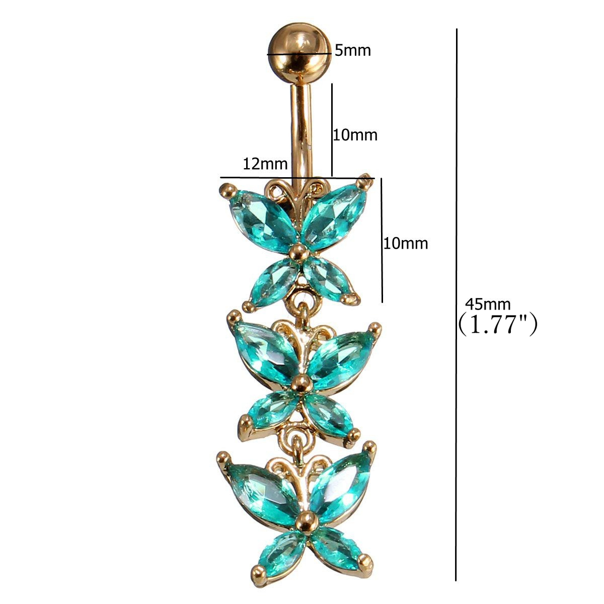 Crystal Buttterfly Body Piercing Sexy Belly Navel Bar Ring Women Jewelry