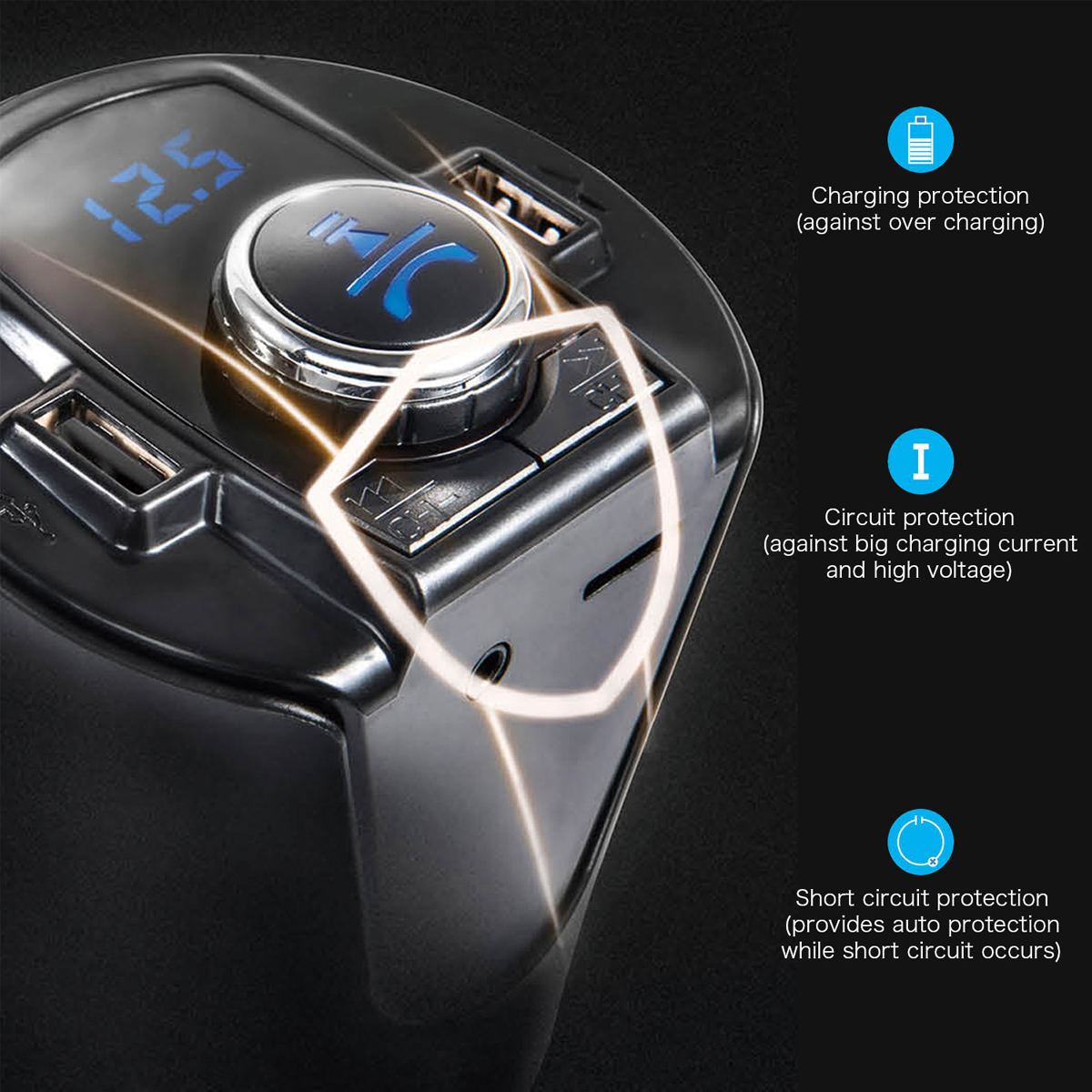 BX6 bluetooth Cup Shaped LED Car Handsfree FM Transmitter Kit Dual USB Car Charger
