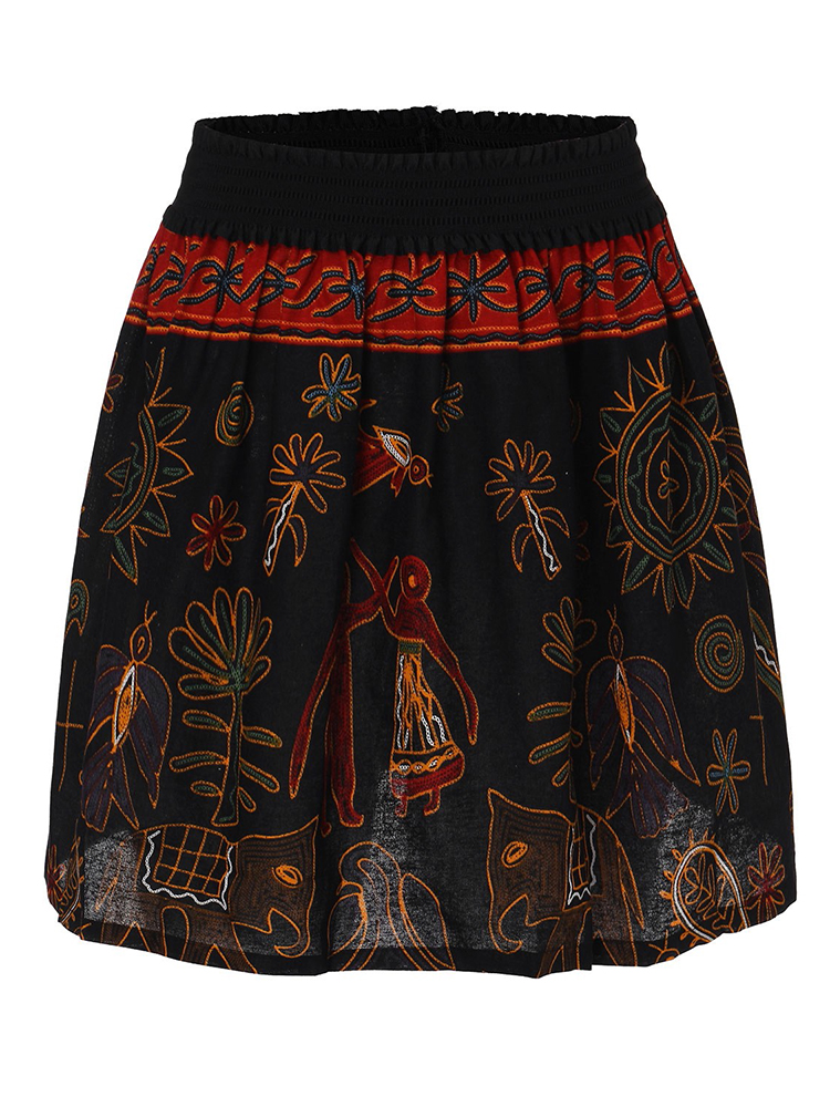 Casual Women Floral Print High Waist Cotton Linen A-line Mini Skirt