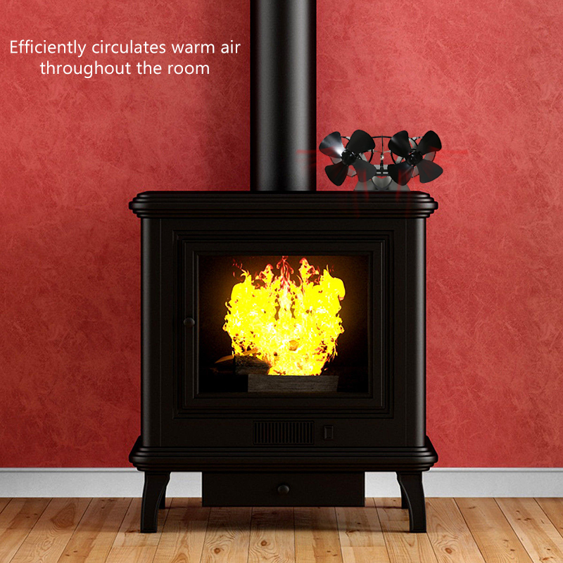 Dual Head Stove Fan 8 Blade Twin Motor Heat Powered Wood Stove Fans Height Fireplace Fan Silent