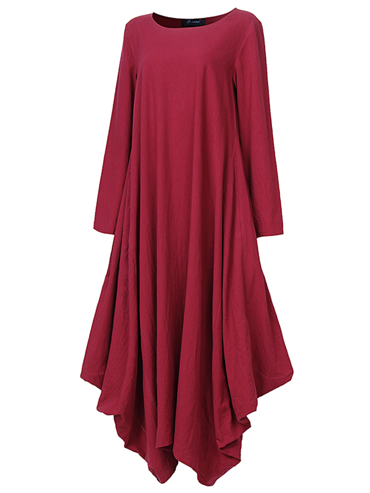 L-5XL Women Pure Color Irregular Maxi Dress