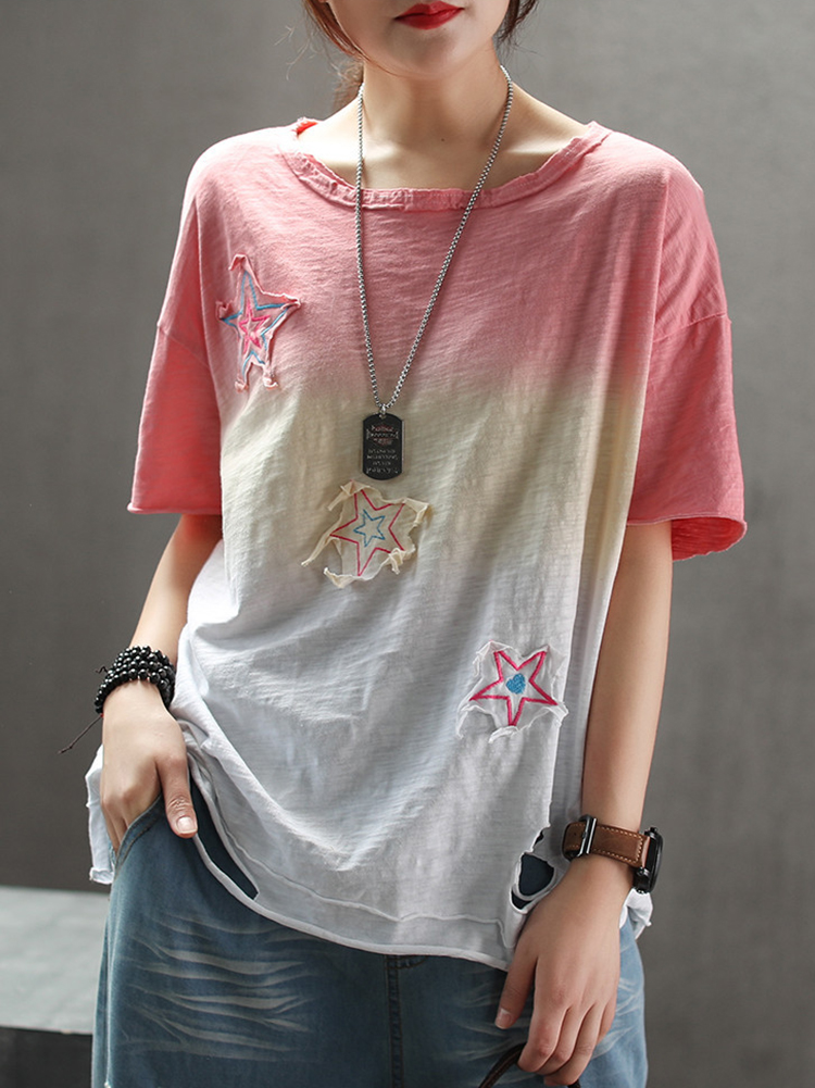 Women Gradually Discolored Pierced Embroidered T-shirts 12