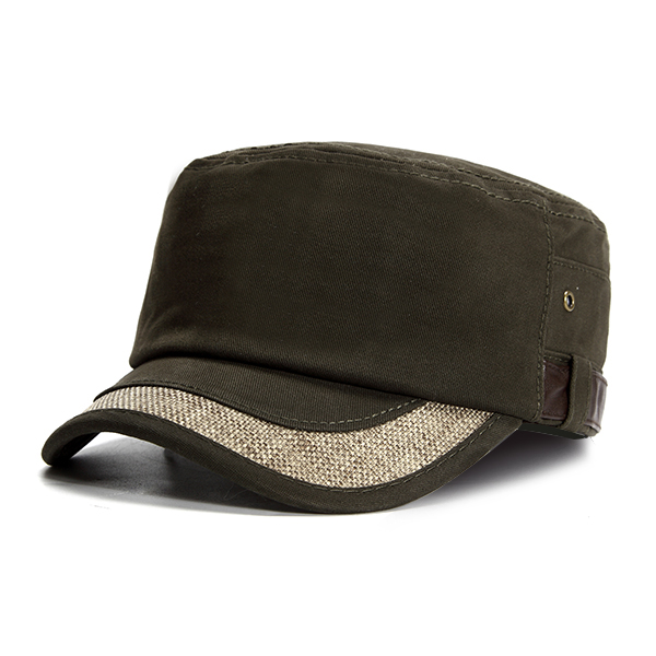 Men Cotton Flat Top Trucker Hats Outdoor Sports Army Sunshade Baseball Cap Adjustable