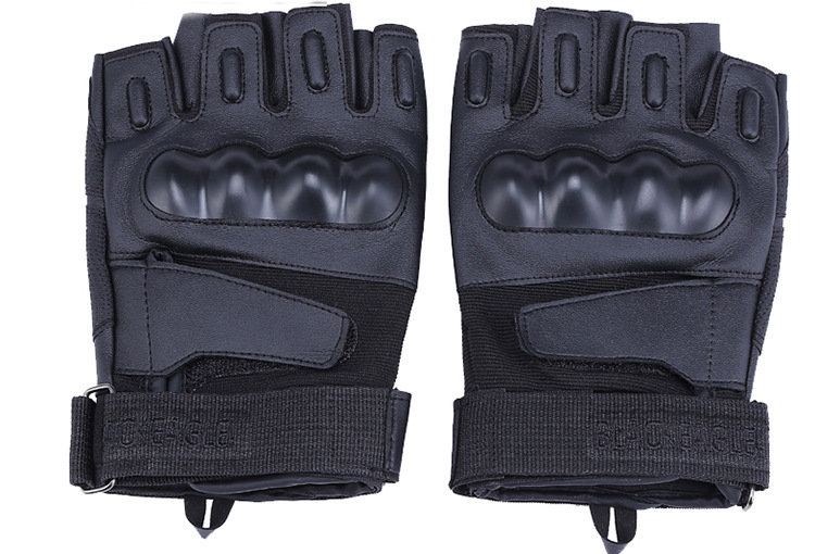 Outdoor Riding Tactical Half Finger Gloves Slip Resistant Velcro Gloves Fitness Mitten M L XL