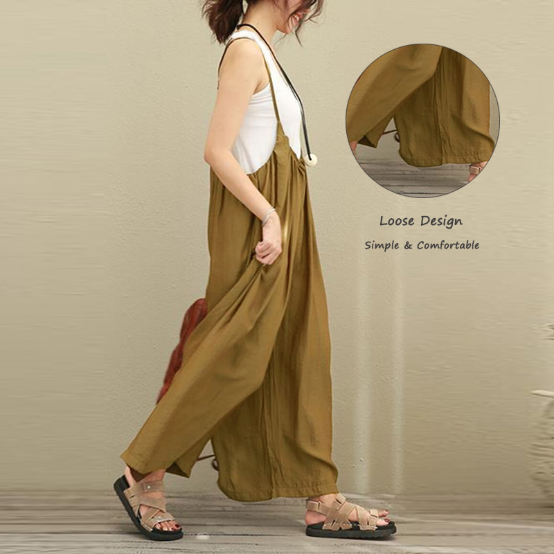 Women Spaghetti Strap Baggy Wide Leg Jumpsuit
