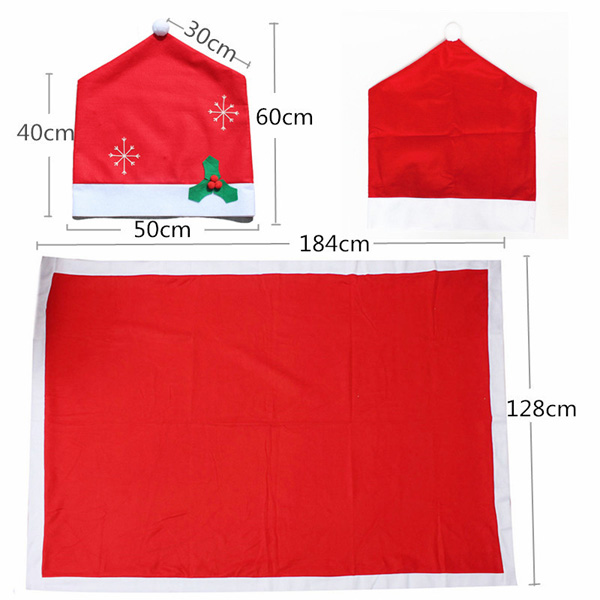 Christmas Snowflake Red Hat Chair Cover Kitchen Dinner Seat Back Cover Home Party Decoration