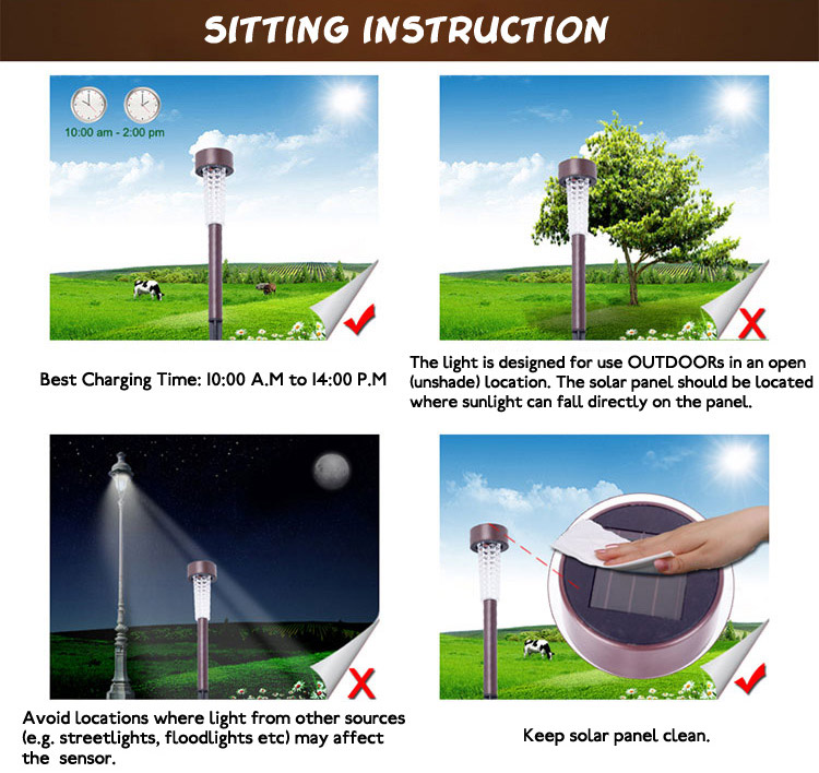 Garden Waterproof Solar White LED Light Stainless Steel Courtyard Landscape Decorative Lamp