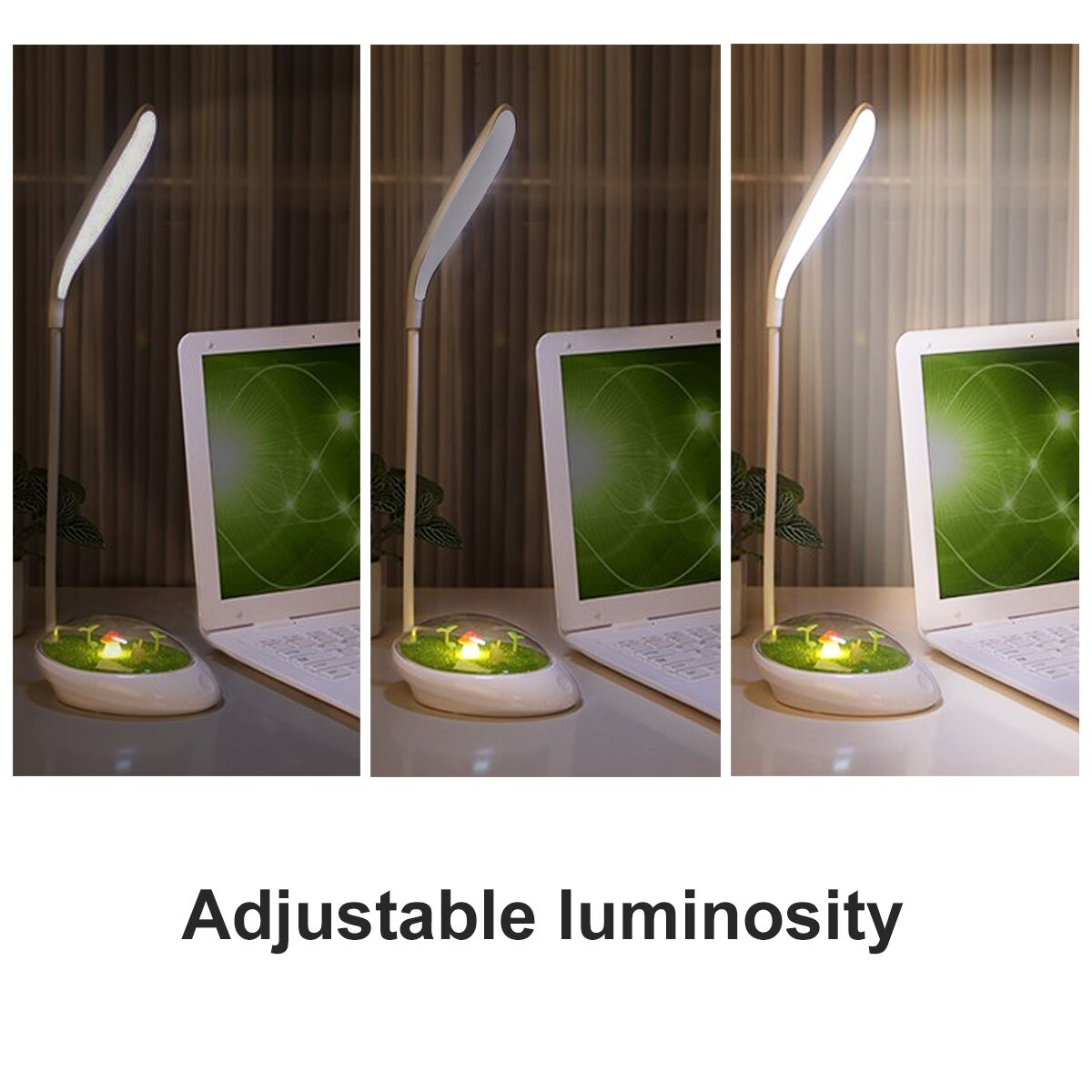 3W Morden 16 LED Smart Touch Dimming Table Lamp USB Charging Book Desk Reading Light Night Light