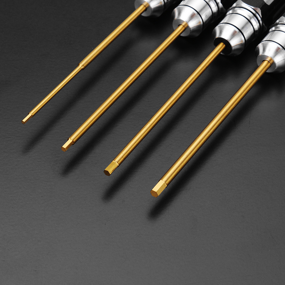 Drillpro 4pcs 1.5/2.0/2.5/3.0mm Hex Screwdriver Bit HSS Titanium Coated Repair Tool Set