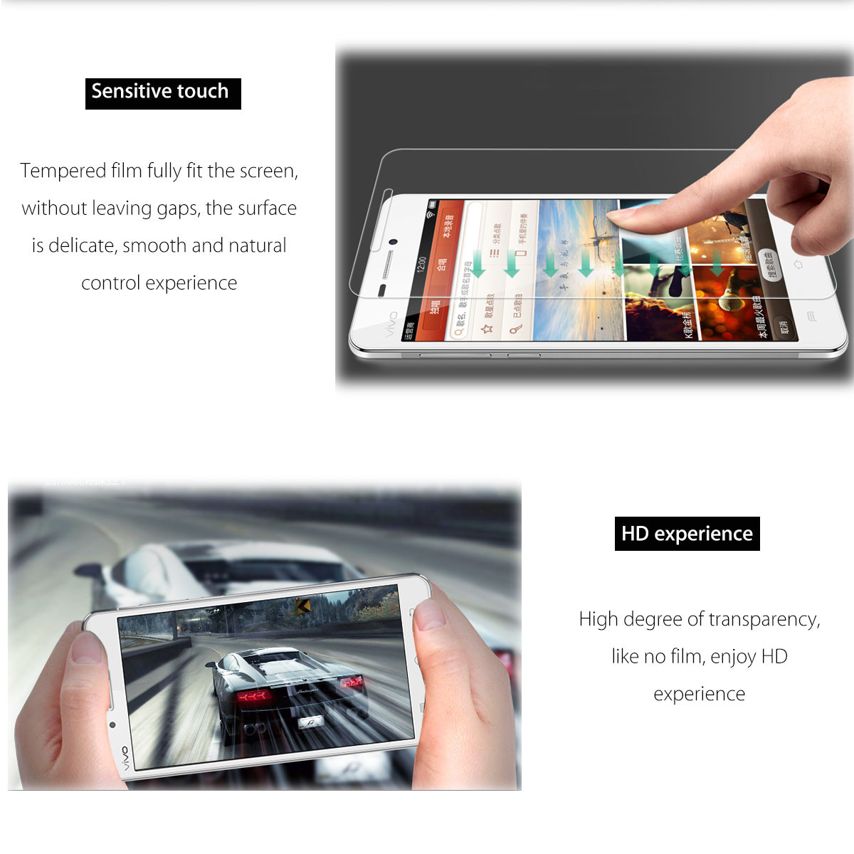 2PCS 9H Hardness Clear Front Tempered Glass Phone Screen Protector Film For Vivo 5