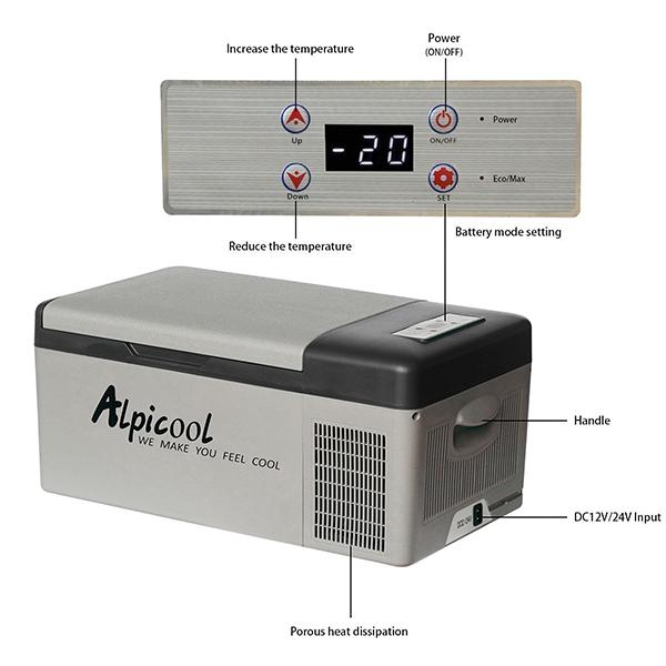 Alpicool C15 DC 12V 24V Digital Display with APP Compressor Car Refrigerator Freezer 15L for Cars