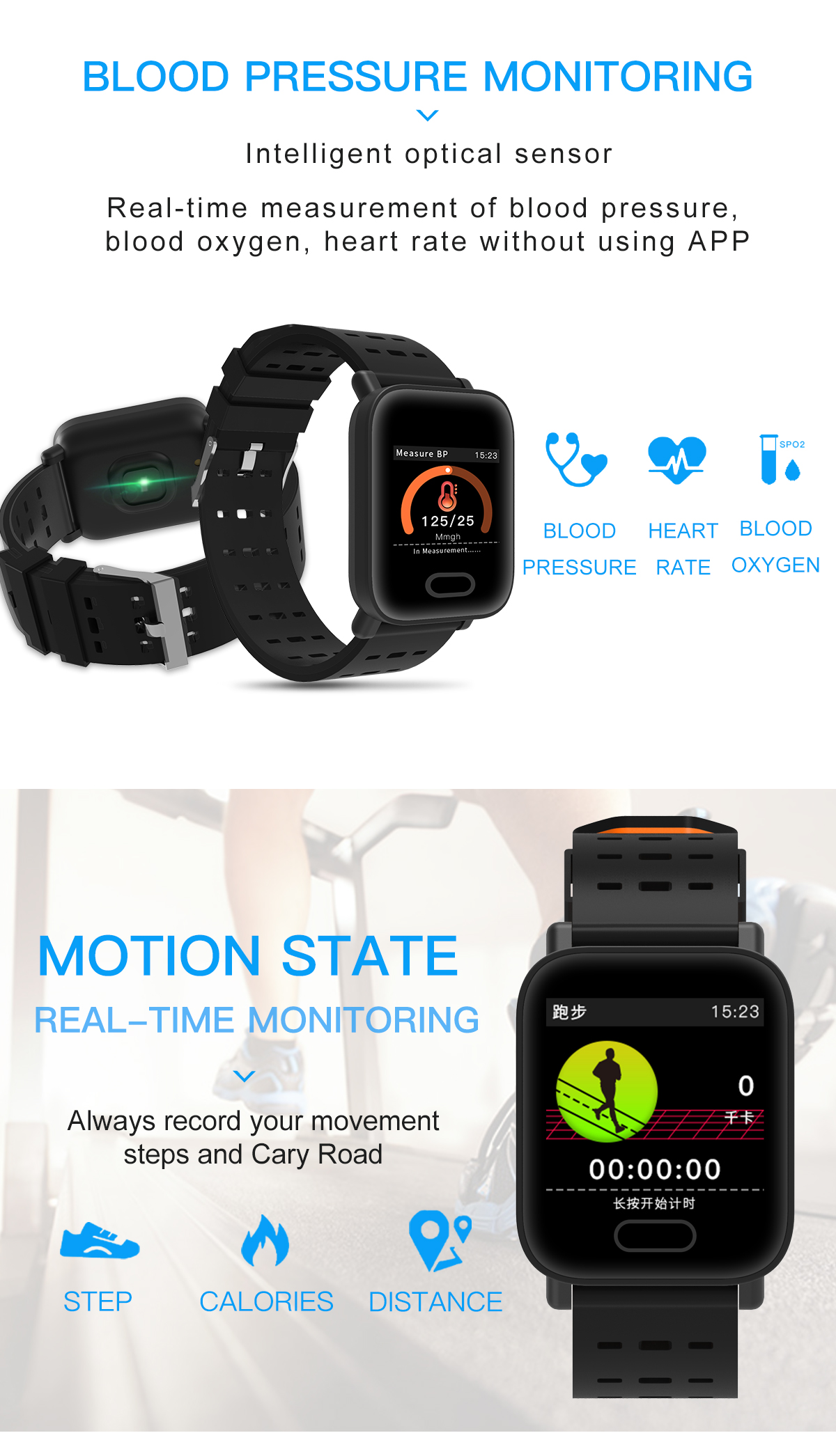 Bakeey KY109 Big Color Screen HR Blood Pressure Oxygen Sleep Monitor Social Media IP67 Smart Watch