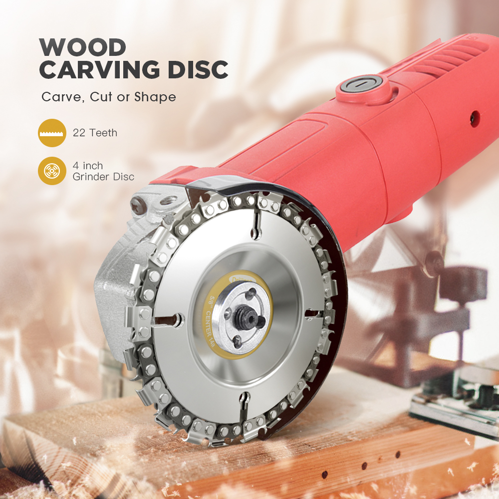Drillpro 4 Inch Grinder Chain Disc 22 Tooth Wood Carving Disc For 100/115 Angle Grinder