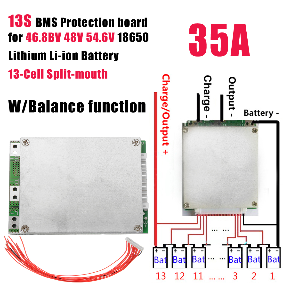 13S 35A 48V Li-ion Battery Protection Board BMS PCB with Balance For E-bike Scooter