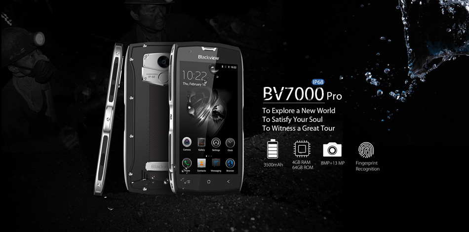 Blackview BV7000 Pro 5.0'' Corning Gorilla Glass 3 Android 7.0 Fingerprint 4GB RAM 64GB ROM MT6750T Octa-Core 1.5GHz OTG 4G Smartphone