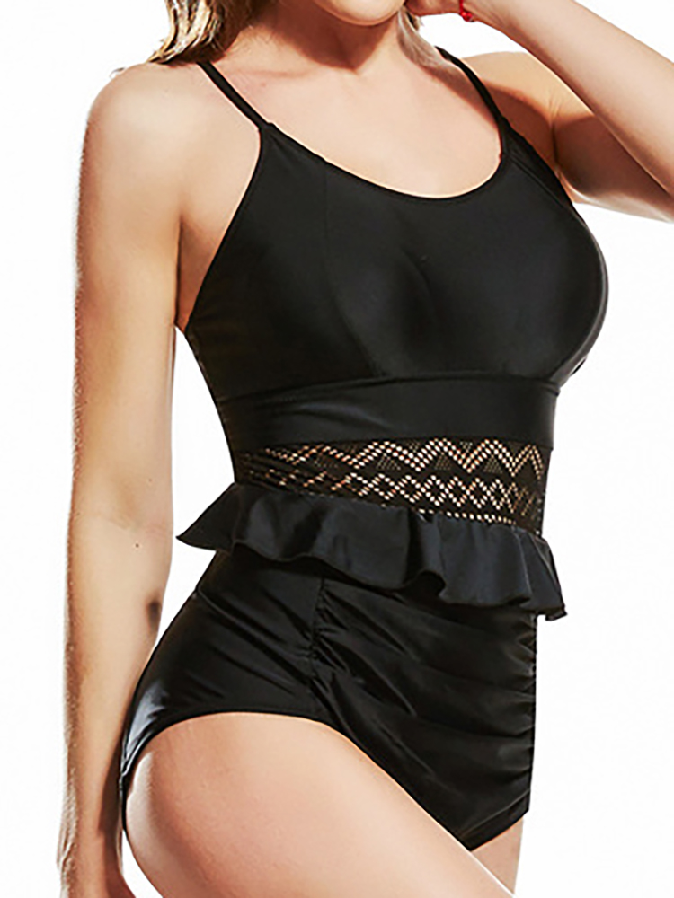 Sexy Hollow Out Straps Strappy Back One Piece Swimsuit