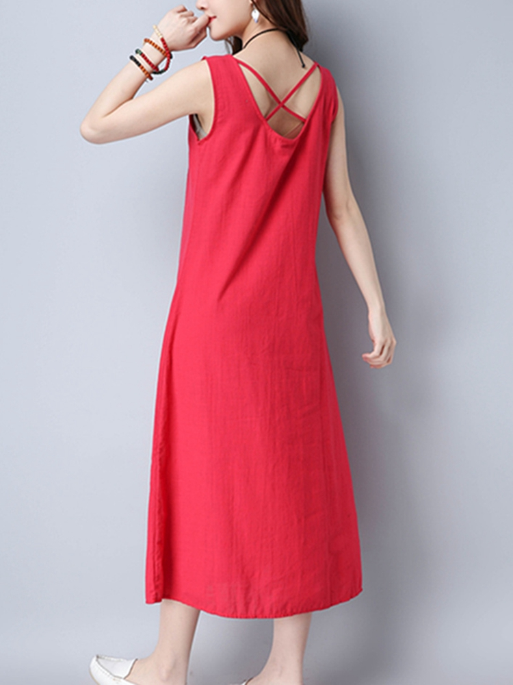 Women Sleeveless Cross Strap Backless Pure Color Dresses