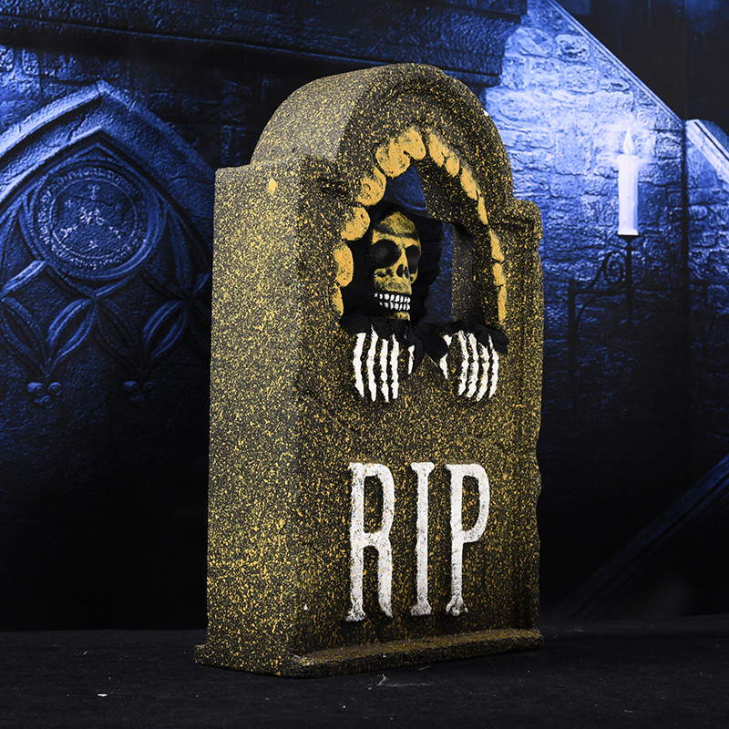 Halloween Voice and Touch Control Horror Simulation Electric Skull Tombstone Props for Bars Haunted Houses Horror Scenes Party Layout