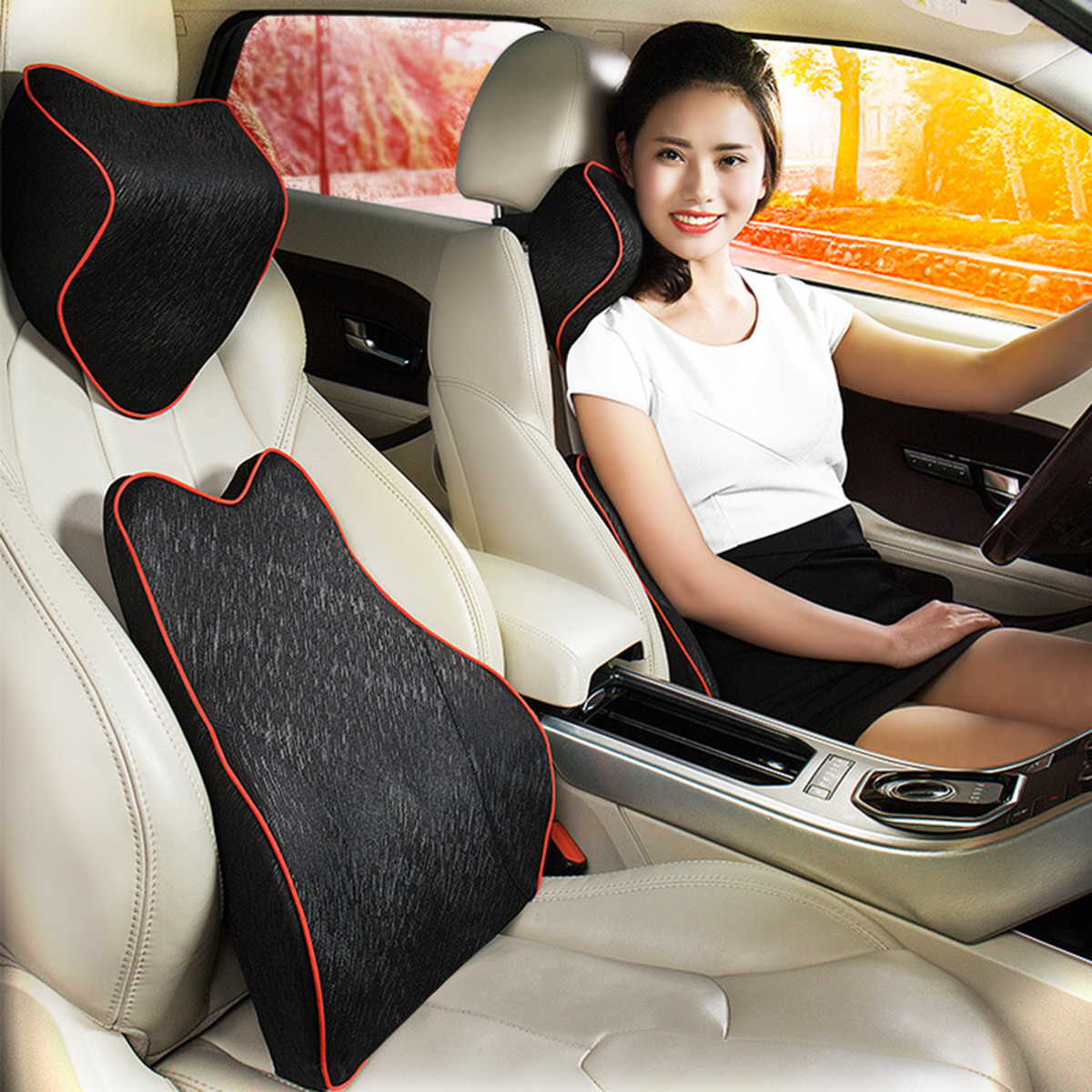 Car Seat Pillow Neck Lumbar Memory Foam Cotton Massager
