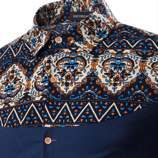 Mens Casual Floral Pattern Retro Printing Shirts Fashion Turndown Collar Long Sleeve Shirts