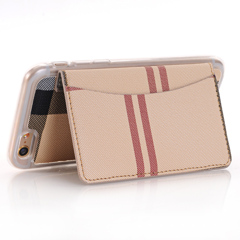 Stripe Skin TPU Protective Case With Card Slots Flip Stand Cover Case For 4.7 Inch iPhone 6 6s