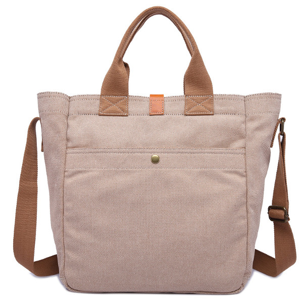 Ekphero Genuine Leather Canvas Tote Handbags Casual Briefcase Vintage Crossbody Bags
