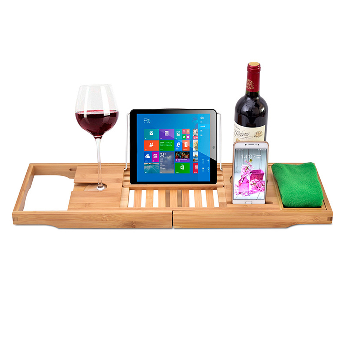 Luxury Bathroom Adjustable Bathtub Rack Bamboo Caddy Shelf Shower Tub Tray Over Book Towel Wine Holder Support
