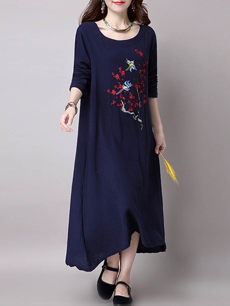 Casual Women Long Sleeve Embroidered Round Neck Maxi Dress with Pocket