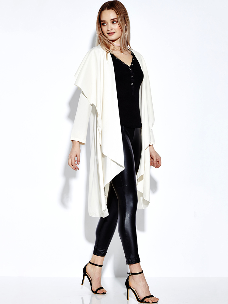 Casual Women Pure Color Loose Irregular Long Sleeve Cardigans