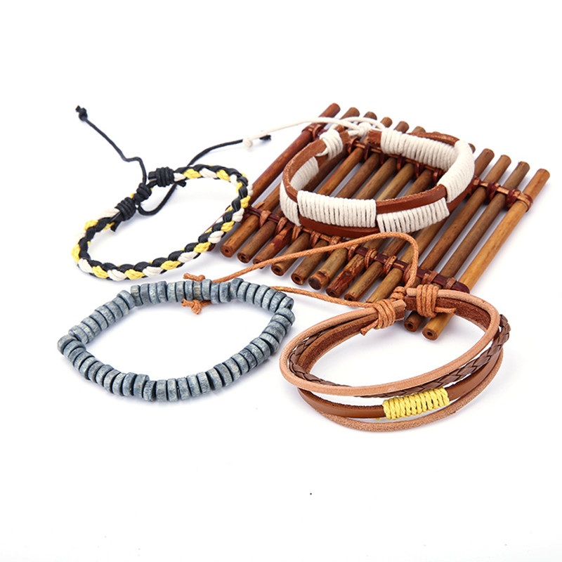 Bohemian Wood Beaded Multilayer Leather Men's Bracelets