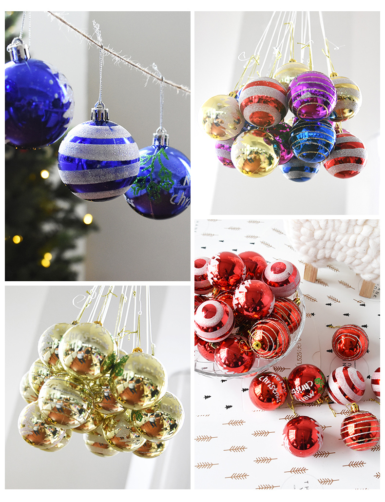 24PCS 6cm Christmas Tree Ball Baubles Party Wedding Hanging Ornament Christmas Decoration Supplies