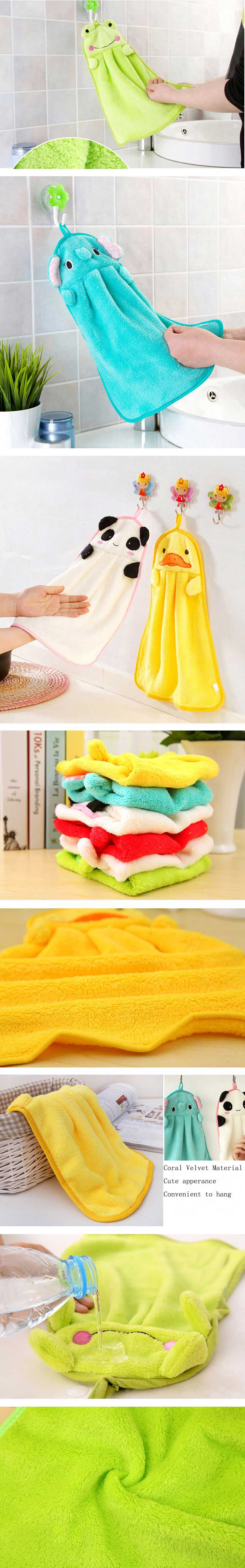 Coral Velvet Bamboo Charcoal Fiber Hand Towel Absorbent Cartoon Hand Towel