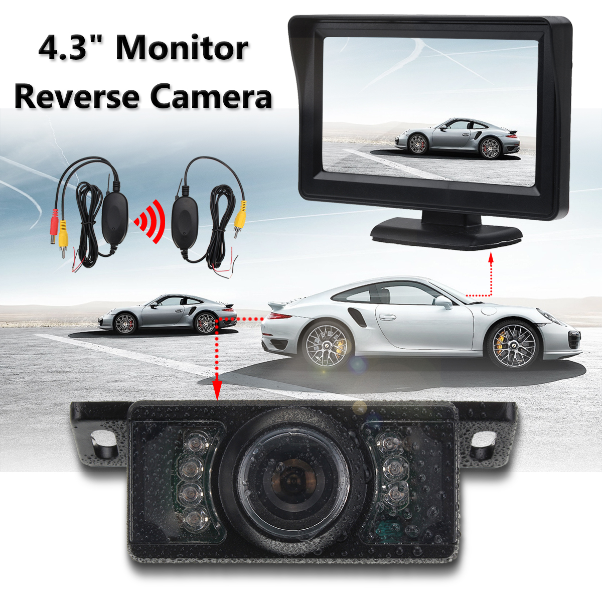Universal 120 Degree Wireless Car CCD Reverse Rear View Backup 6 LED Camera 4.3 Inch Monitor