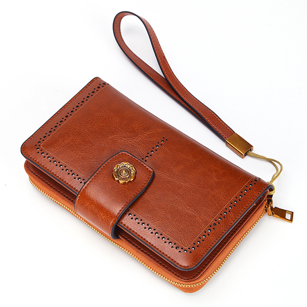 Women Oil Wax Genuine Leather 4.7/5.5 Inch Phone Bag