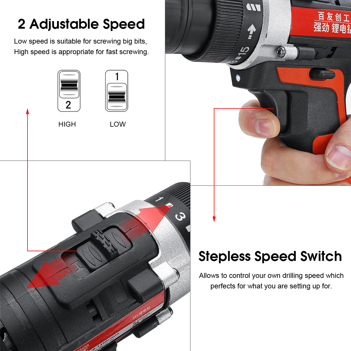 Raitool 12V/24V Lithium Battery Power Drills Cordless Rechargeable 2 Speed Electric Drill