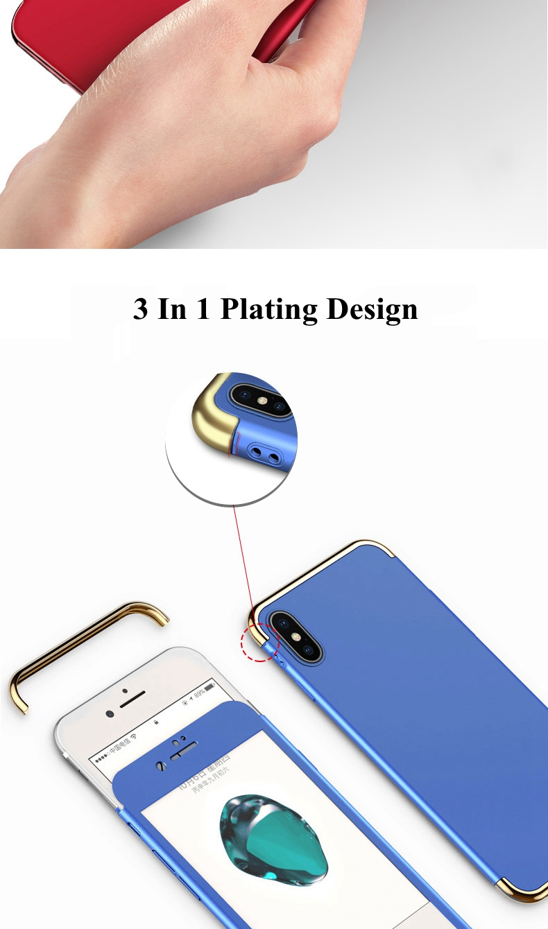 Bakeey 3 In 1 Full Body Plating Case With Tempered Glass Film For iPhone X