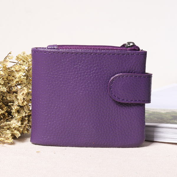 Details: Material Genuine Leather Color Blue, Black, Purple, Rose, Red, Yellow Weight 80g Length 10.5cm(4.13') Height 8.5cm(3.35') Width 2cm(0.79') Pattern Pure Color Inner Pocket Card Slots, Coin Slots, Photo Slots, Cash Slots Closure Hasp&Zipper Package #purse
